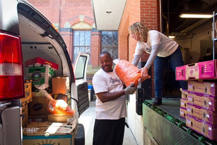 Food For Free, a food recovery group in Boston, picks up leftover food after an event at Harvard University in 2015, aft