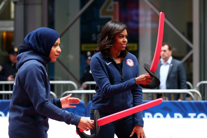 Fencer Ibtihaj Muhammad is the first Muslim woman who wears a hijab to join the United States Olympic Team and