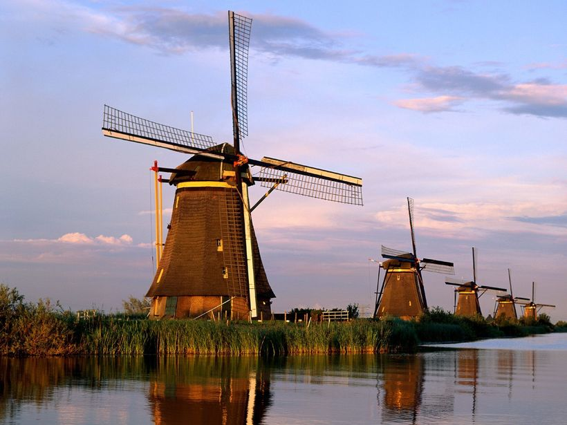Eighteenth century windmills, once used to drain Holland'sfenlands (a type of marsh), are now a UNESCO World Heritage S
