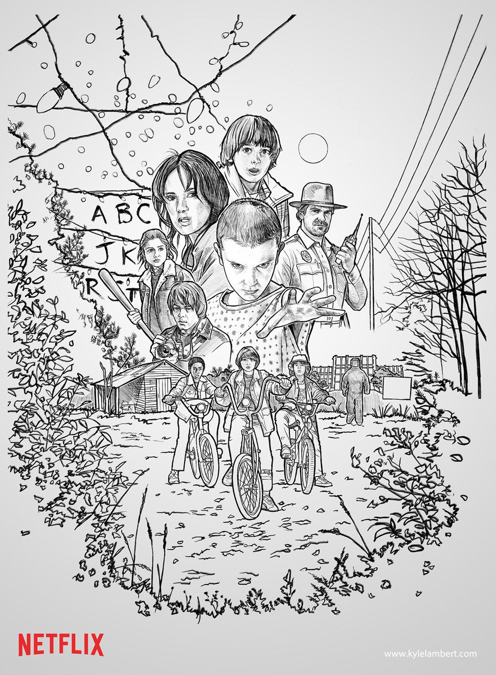 The hand-drawn sketch before color was added.