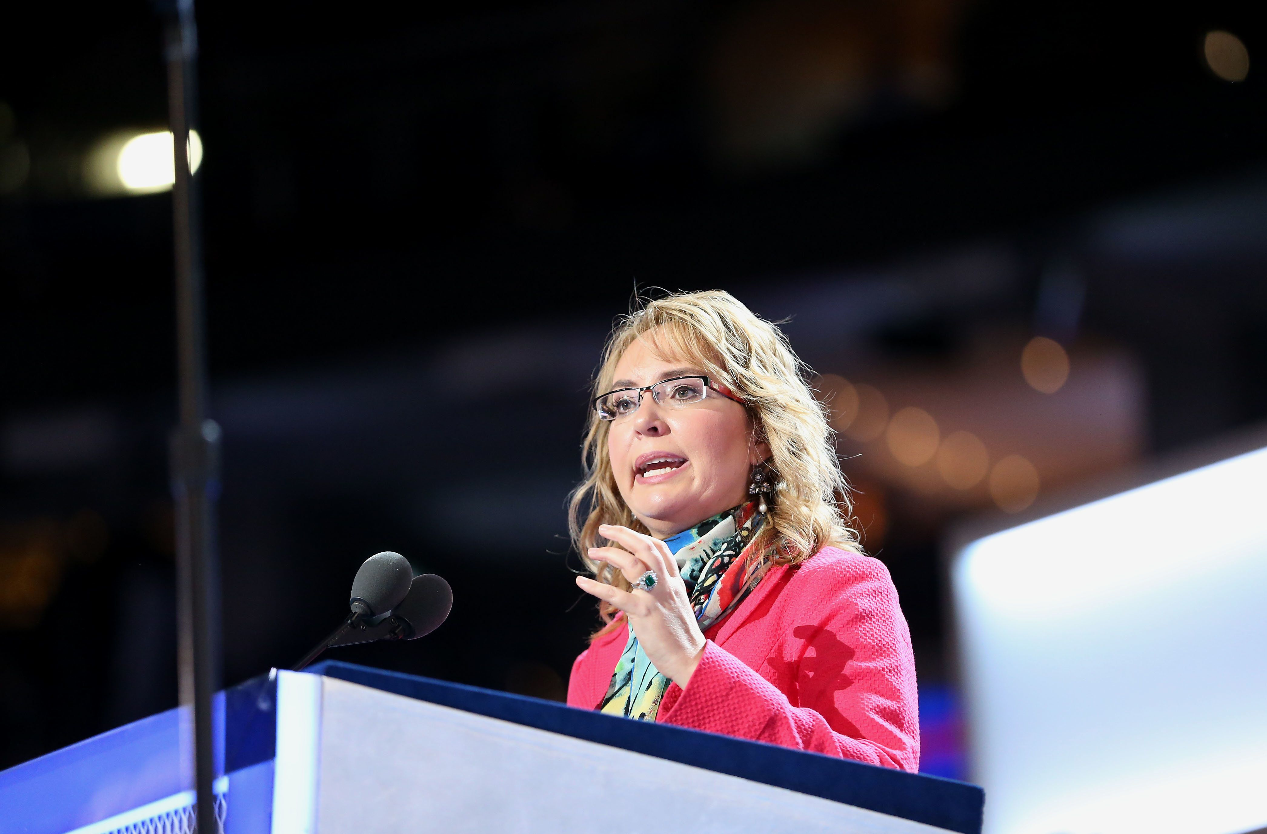 Gabrielle 'Gabby' Giffords, former U.S. Representative from Arizona, speaks on stage during a walk through before the start of the Democratic National Convention (DNC) in Philadelphia, Pennsylvania, U.S., on Monday, July 25, 2016. The Democratic National Committee gloated as Republicans struggled to project unity during the party's national convention, but they are now facing a similar problem after their leader resigned on the eve of their own gathering. Photographer: Daniel Acker/Bloomberg via Getty Images