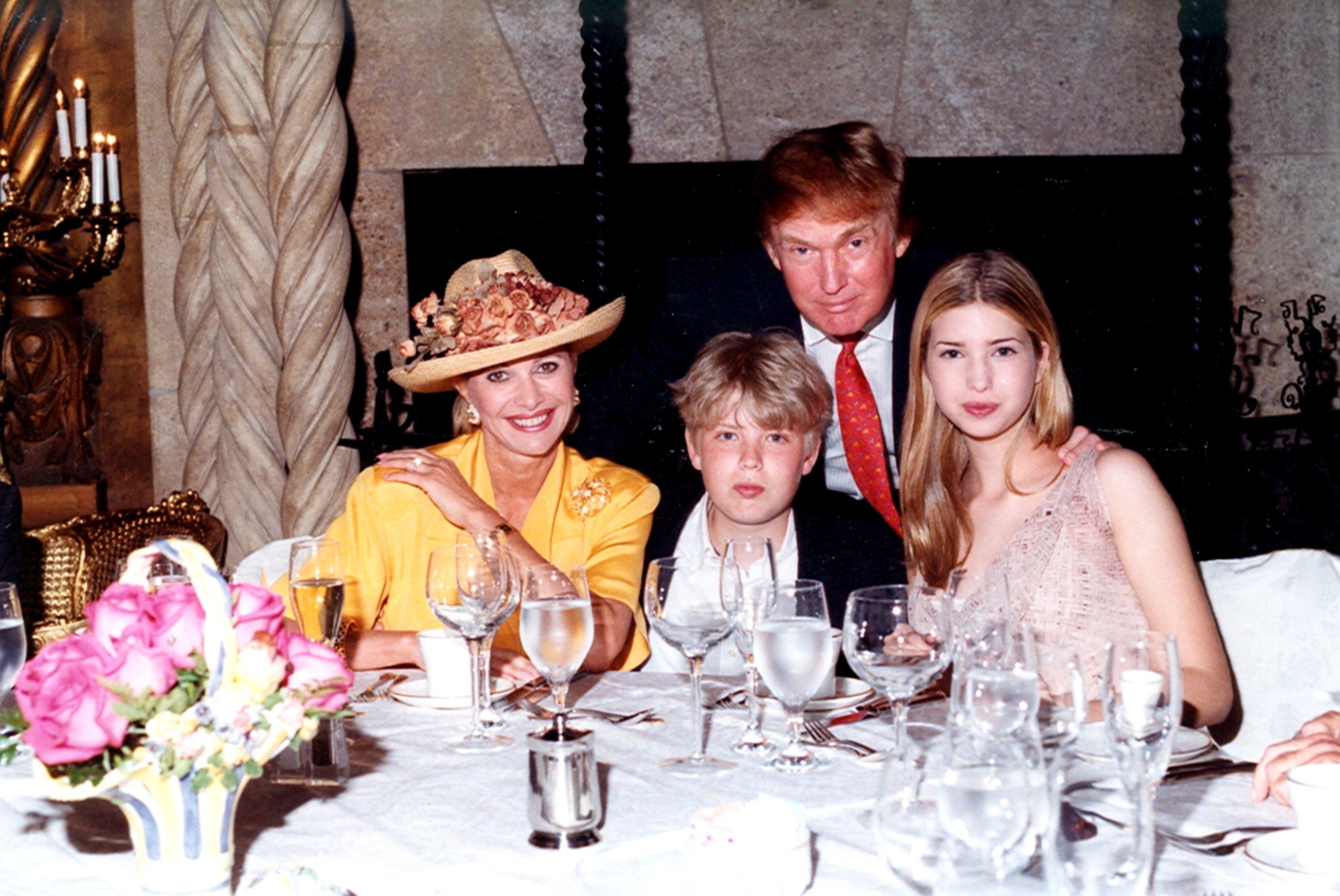 Donald Trump, his first wife Ivana Trump and kids Ivanka and Eric.