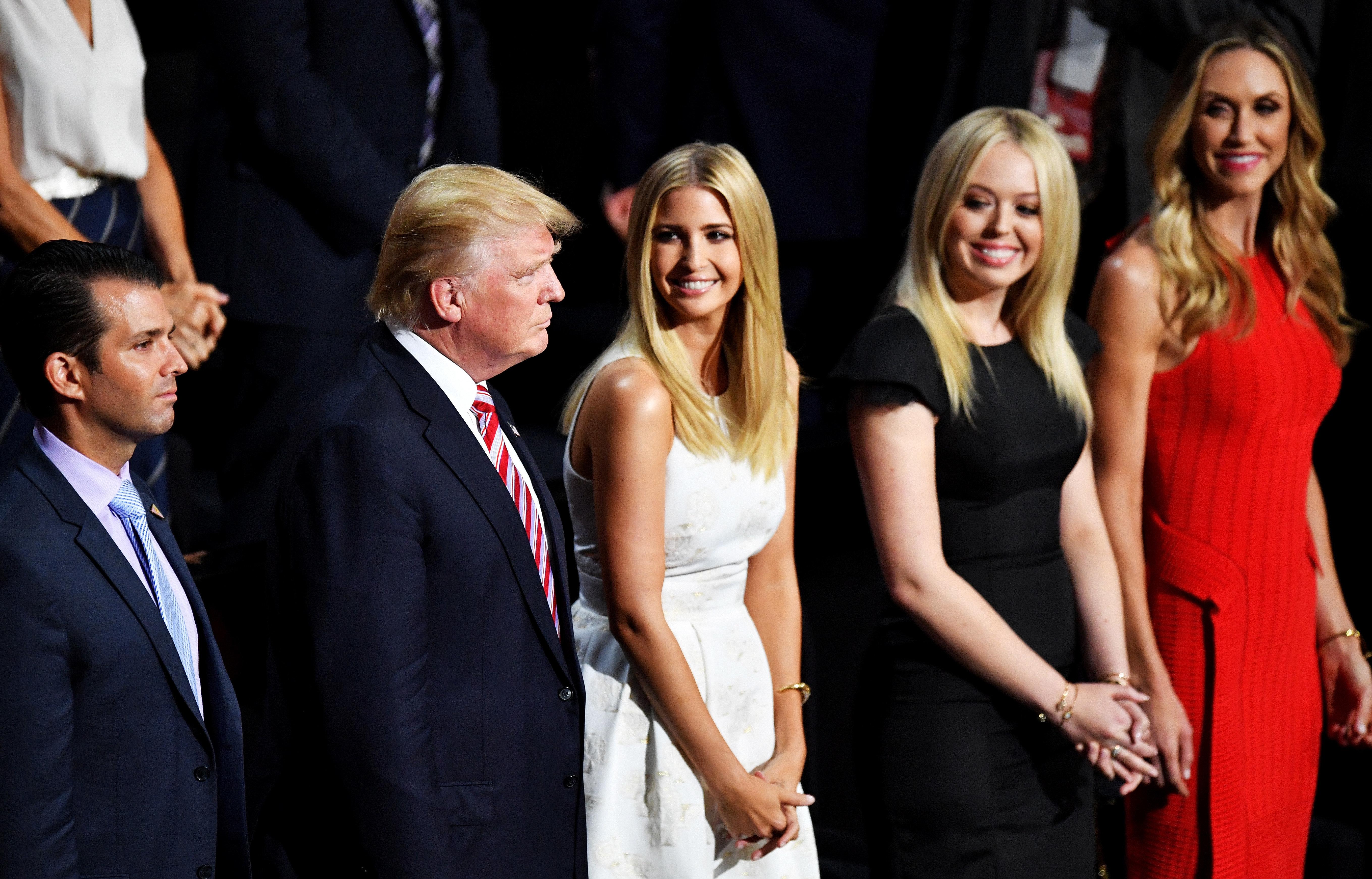 Donald Trump Jr., Donald Trump, Ivanka Trump, Tiffany Trump and Lara Yunaska listen toEric Trump deliver his speech dur