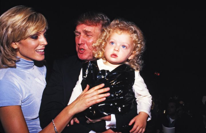 Donald Trump, second wife Marla Maples and daughter Tiffany in 1995.
