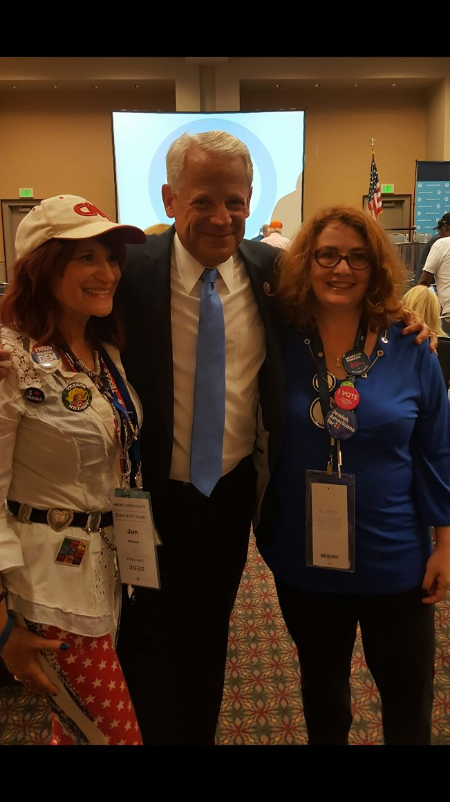 (l to r): Jan Naxon of the North Dallas Democratic Women's Club, U.S. Rep. Steve Israel, and Texas Clinton delegate Janice Sc