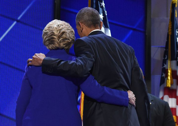 Clinton joined Obama onstage after his speech Wednesday.