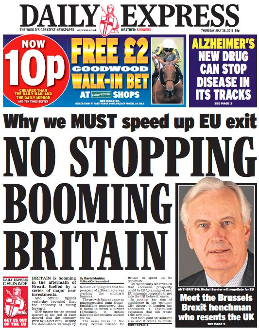 Thursday's Express front