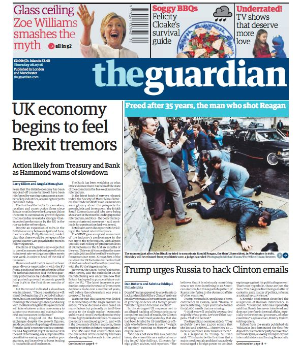 The Guardian's Thursday front