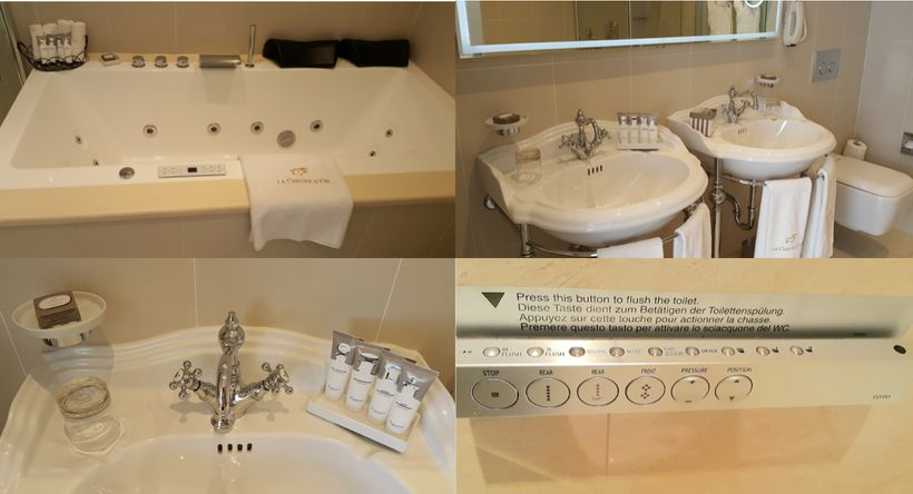 From top left to right: Jacuzzi with 25 jets awarded +5 bonus points, oxygenation button, built-in light show, complete with towels, shampoo and other accessories, and the energy saving feature of the toilet