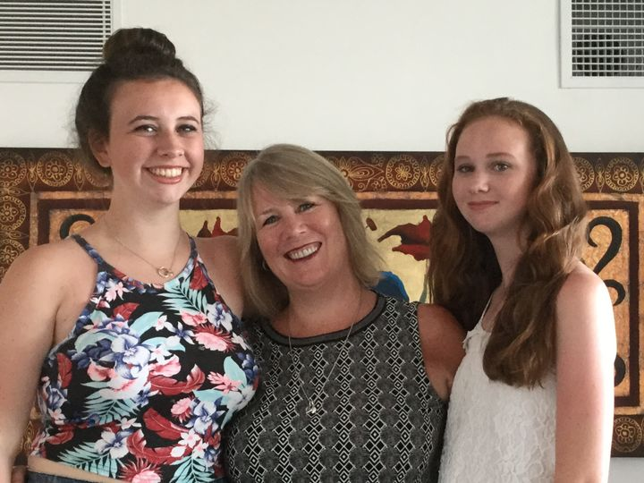 Frances Wallace with her two daughters Daniella, 16, (L) and Francesca, 13 (R).