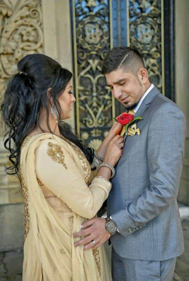 Samia Shahid and her second husbandSyed Mukhtar Kazam on their wedding