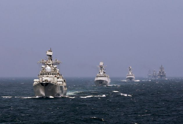 Chinese and Russian naval vessels participate in the Joint Sea-2014 naval drill outside Shanghai on the...