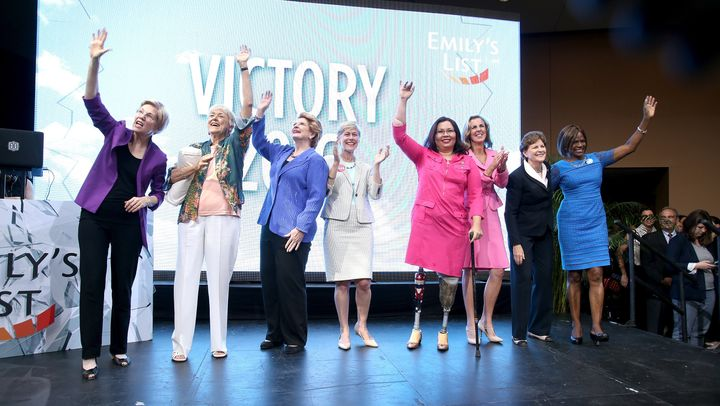 Sen. Elizabeth Warren (Mass.), EMILY's List founder Ellen Malcolm, Sen. Debbie Stabenow (Mich.), North Carolina Senate candid