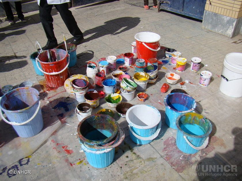 Lots of different colors of paint were used to covergraffiti-filled walls during the initiative.