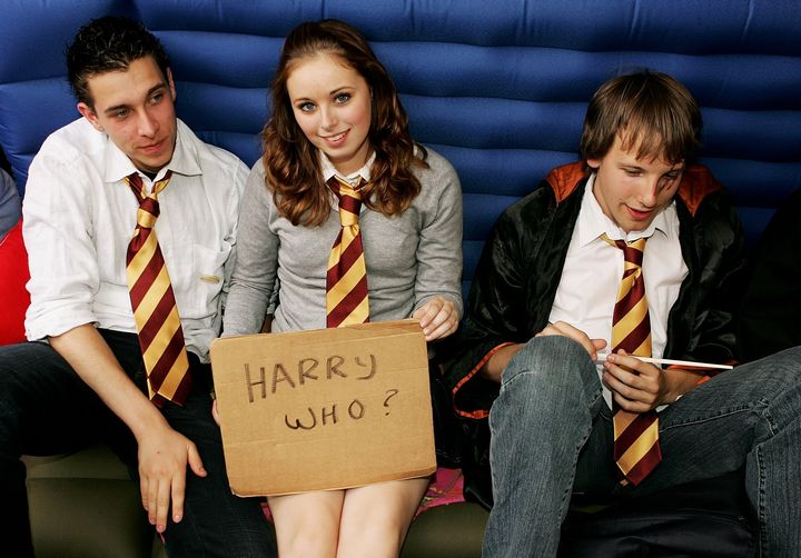 "Fans waiting outside a London bookstore awaiting the release of ""Harry Potter and the Deathly Hallows"" in 2007."