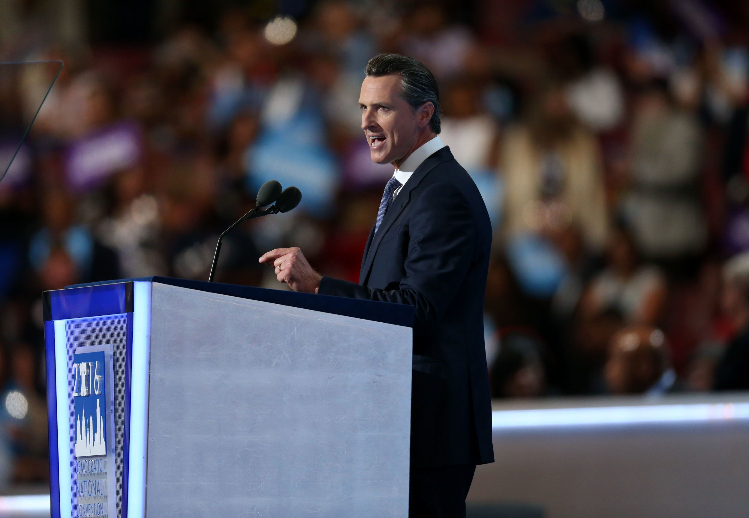 Gavin Newsom, lieutenant governor of California, speaks during the Democratic National Convention (DNC) in Philadelphia, Pennsylvania, U.S., on Wednesday, July 27, 2016. With the historic nomination for the first woman to run as the presidential candidate of a major U.S. political party, Democrats gathered in Philadelphia hoped they had turned a corner on Tuesday. Photographer: Daniel Acker/Bloomberg via Getty Images