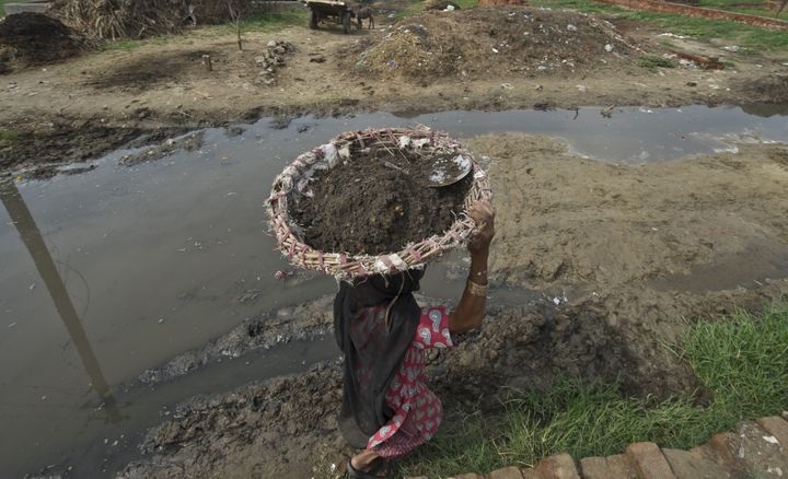 60 year old manual scavenger Kela carrying a basket of human excrement her head after cleaning toilets in Nekpur village, Mur