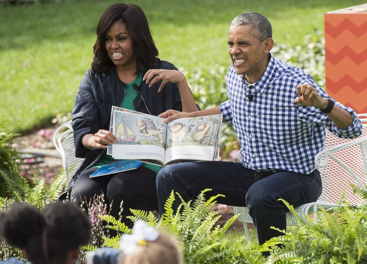 Barack Obama and First Lady Michelle Obama read the book, 'Where the Wild Things Are,' during the annual Easter Egg Roll on t