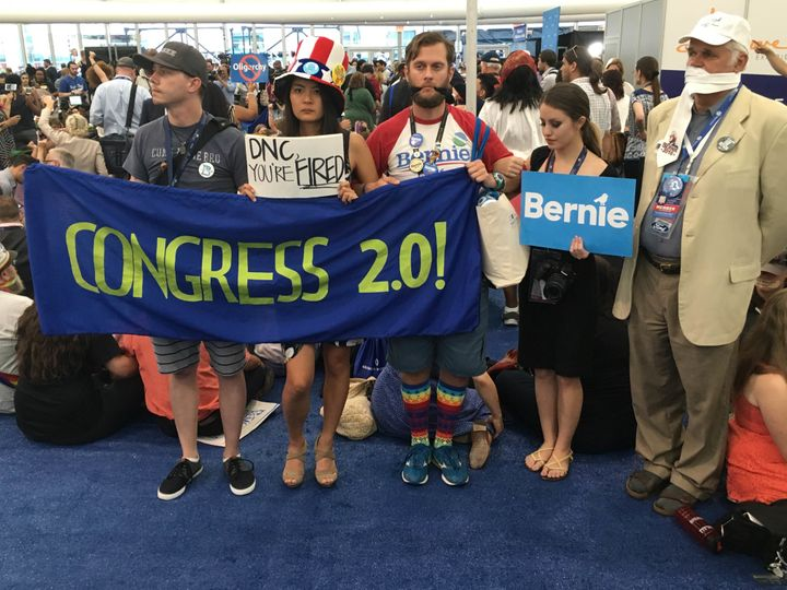 Sanders supporters protest the nomination of Clinton outside the Wells Fargo Arena in Philadelphia on Tuesday, July 26th, 201