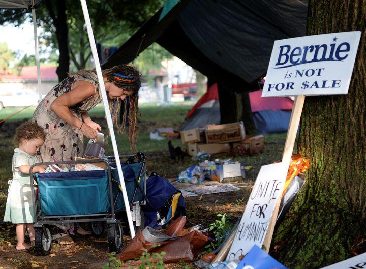 A supporter of Sen. Bernie Sanders reorganizes her camp in Philadelphia, July 26, 2016.