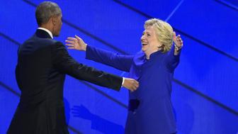 PHILADELPHIA, PA - JULY 27: President Barack Obama is joined on stage with Democratic Presidential Candidate Hillary Clinton during the third day of the Democratic National Convention in Philadelphia on Wednesday, July 27, 2016. (Photo by Michael Robinson Chavez/The Washington Post via Getty Images)