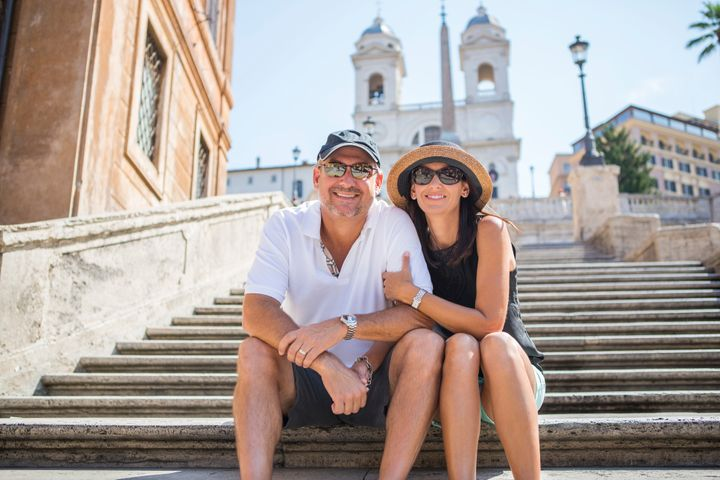 Couple on the Spanish Steps in Rome.