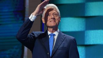 Former President Bill Clinton arrives to speak on Day 2 of the Democratic National Convention at the Wells Fargo Center, July 26, 2016 in Philadelphia, Pennsylvania.    / AFP / Robyn BECK        (Photo credit should read ROBYN BECK/AFP/Getty Images)