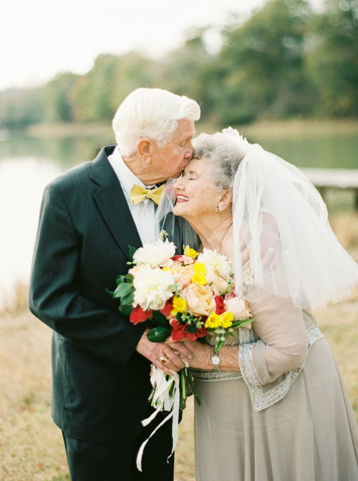 Mamaw got in touch with her bridal side and woreveil fora few photos.