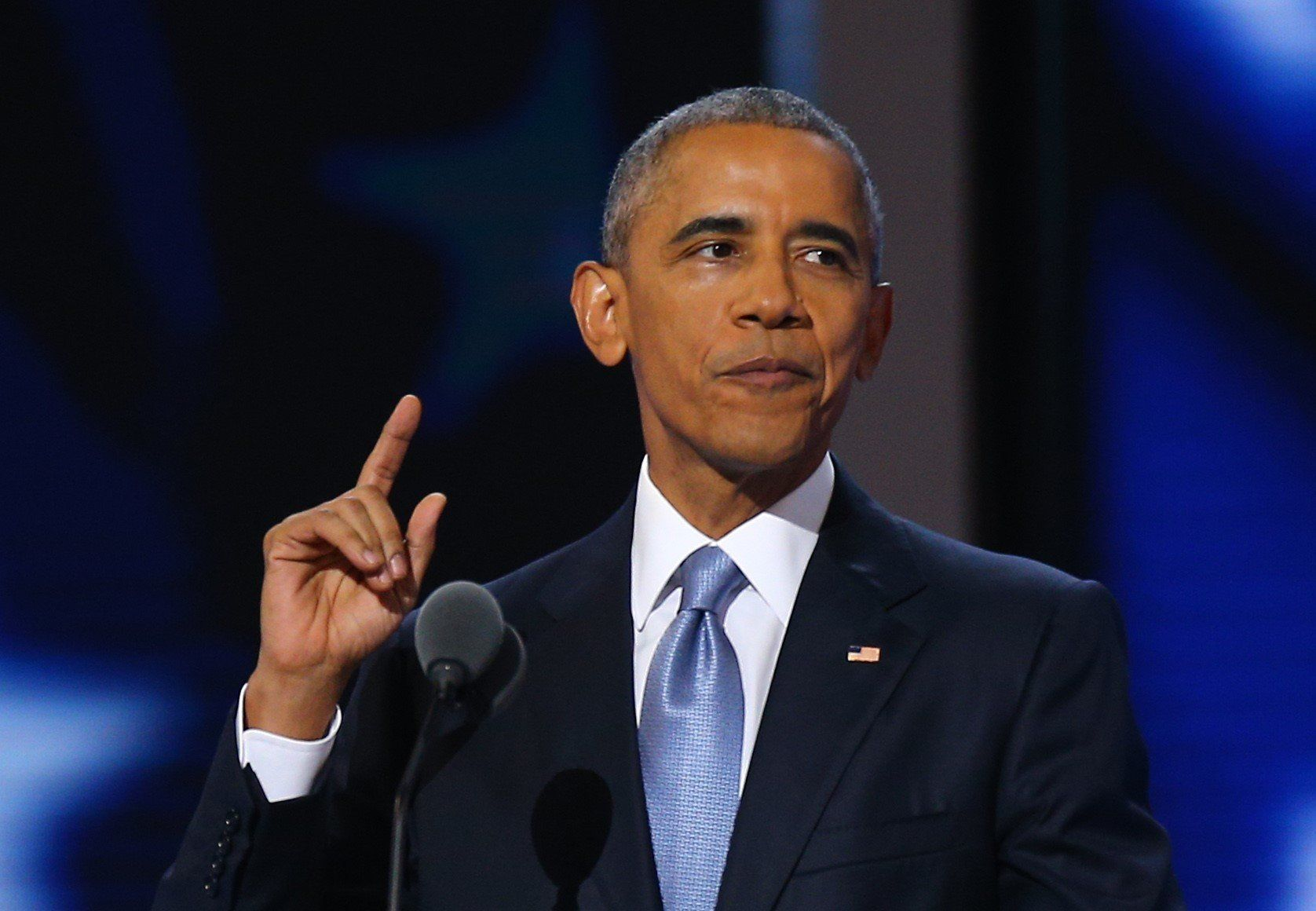 PHILADELPHIA, USA - JULY 28: U.S. President Barack Obama delivers a speech during a congress ahead of 58th Presidential election on November 08, in Philadelphia, USA on July 28, 2016. Hillary Clinton is the first female Presidential nominee in U.S. history.   (Photo by Volkan Furuncu/Anadolu Agency/Getty Images)