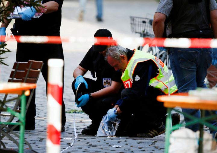 Police secure the area after an explosion in Ansbach, Germany, July 25, 2016. A suicide bomber who pledged allegiance to ISIS
