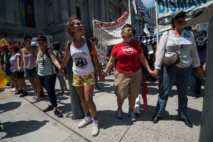 Immigrant rights groups marched in Philadelphia duringthe Democratic National Convention on July 25. Many activists say