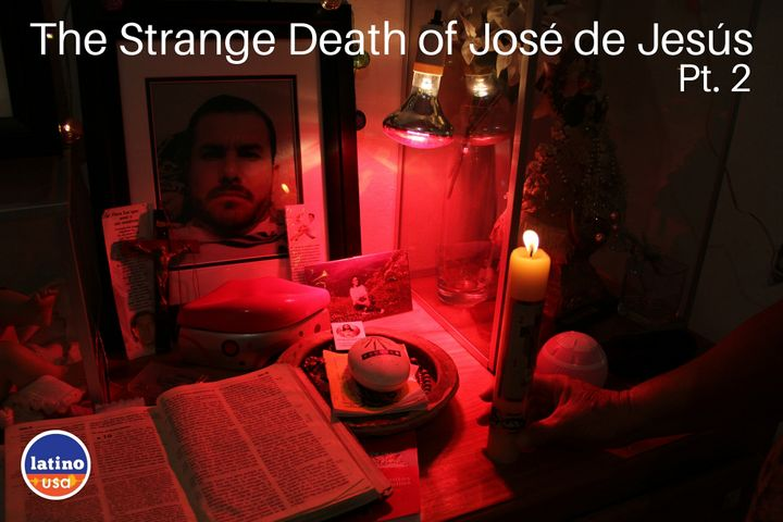 An altar for José in his old bedroom in the family's home in Jalisco, Mexico.