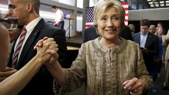 Democratic U.S. presidential candidate Hillary Clinton greets supporters at Southwest College in Los Angeles, California, United States, April 16, 2016. REUTERS/Lucy Nicholson