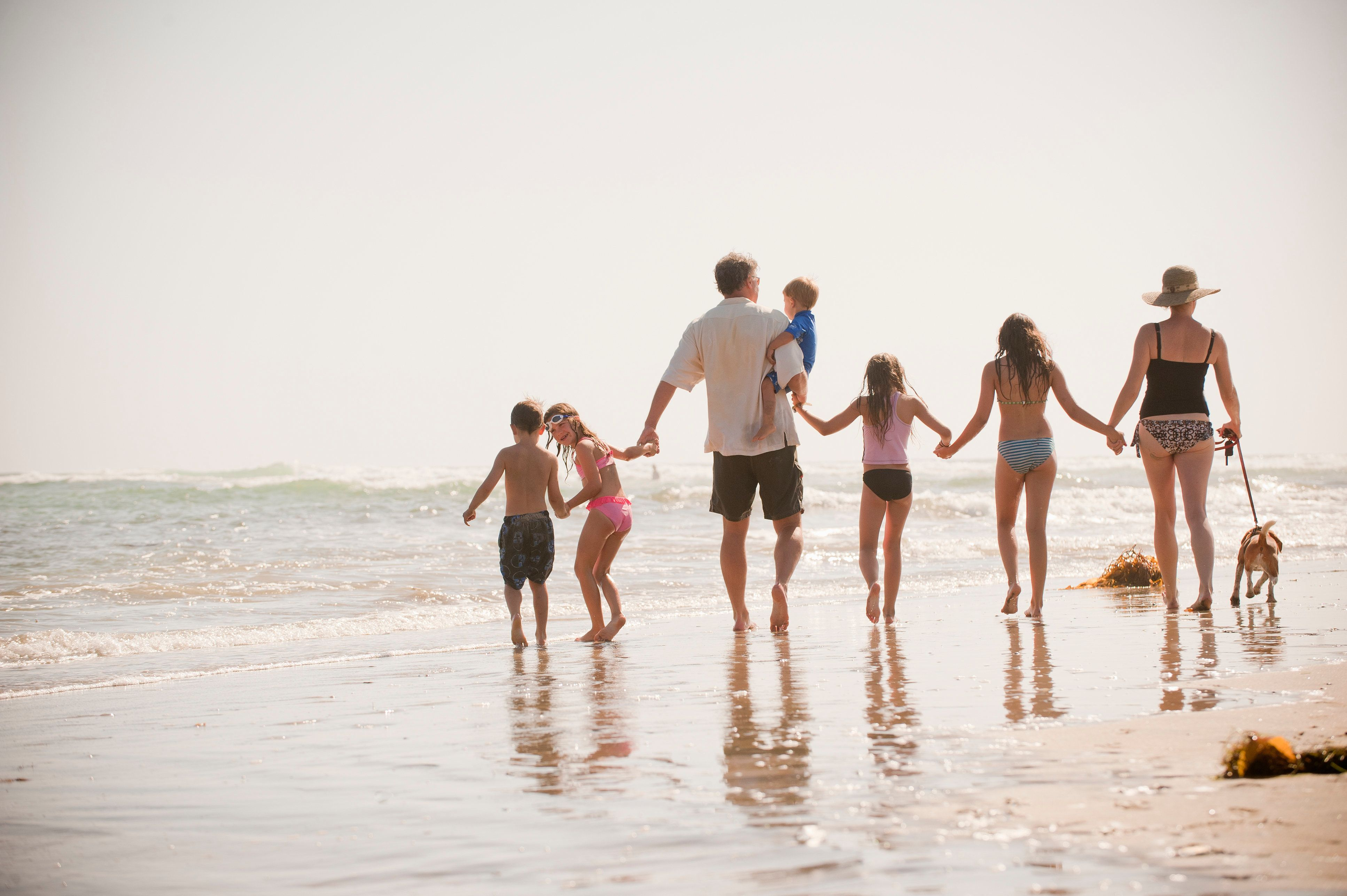 family of seven walks on the beach with their dog