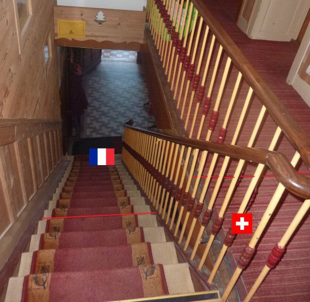 A trip upstairs at Hotel Arbez means crossing into Switzerland.