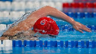 OMAHA, NE - JULY 02:  Katie Ledecky of the United States competes in the final heat for the Women's 800 Meter Freestyle during Day Seven of the 2016 U.S. Olympic Team Swimming Trials at CenturyLink Center on July 2, 2016 in Omaha, Nebraska.  (Photo by Al Bello/Getty Images)