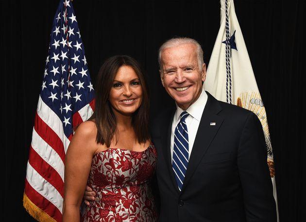 Vice President Joe Biden, seen with actress and Joyful Heart Foundation founder Mariska Hargitay, will...