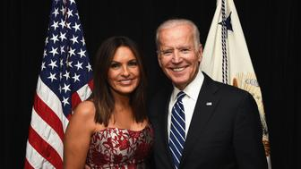 NEW YORK, NY - MAY 10:  Actress and Joyful Heart Foundation Founder and President Mariska Hargitay (L) and Vice President Joe Biden attend The Joyful Revolution Gala hosted by Mariska Hargitay's Joyful Heart Foundation at David Geffen Hall on May 10, 2016 in New York City.  (Photo by Bryan Bedder/Getty Images for Joyful Heart Foundation)