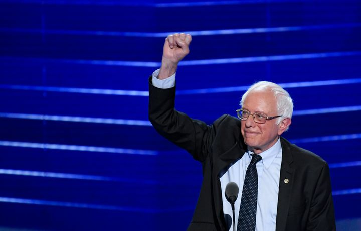Former presidential candidate Sen. Bernie Sanders (I-Vt.) speaks at the Democratic National Convention in Philadelphia on Mon