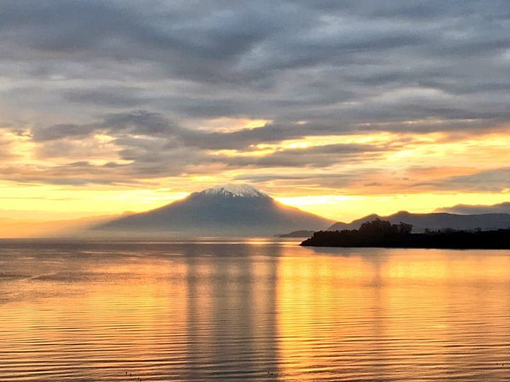 Sunrise on Llanquihue Lake as seen from Hotel Cumbres