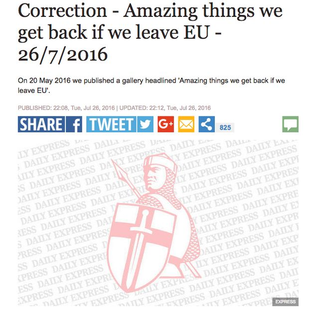 The Daily Express issued a correction on the