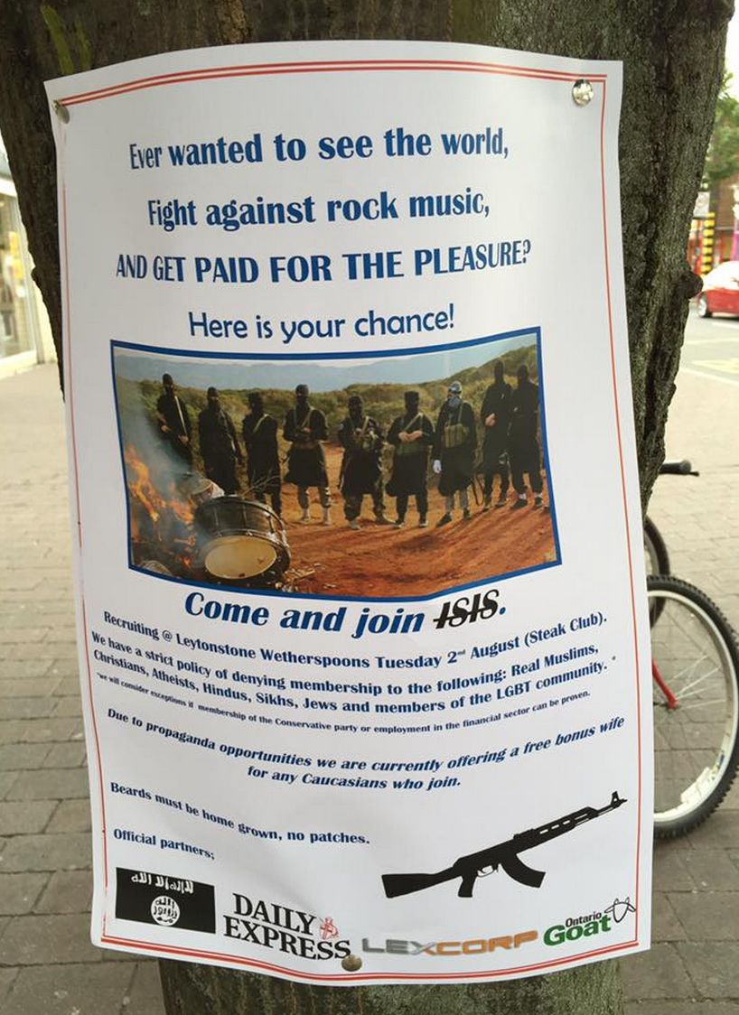 Spoof recruitment posters for the Islamic State have been posted across east