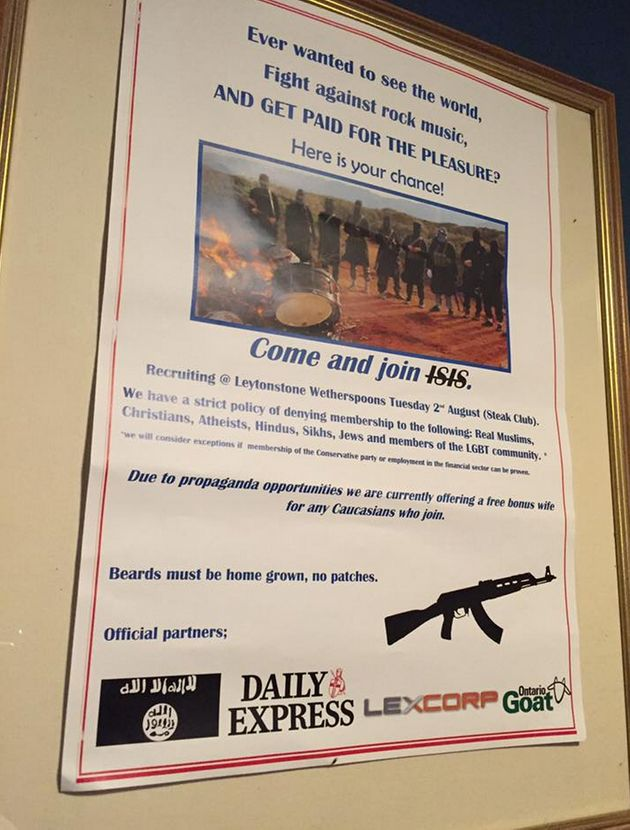Members of the public interested in joining the terrorist group were told to meet at a branch of Wetherspoons...