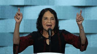 PHILADELPHIA, PA - JULY 28:  American labor leader and civil rights activist Dolores Huerta delivers remarks on the fourth day of the Democratic National Convention at the Wells Fargo Center, July 28, 2016 in Philadelphia, Pennsylvania. Democratic presidential candidate Hillary Clinton received the number of votes needed to secure the party's nomination. An estimated 50,000 people are expected in Philadelphia, including hundreds of protesters and members of the media. The four-day Democratic National Convention kicked off July 25.  (Photo by Alex Wong/Getty Images)