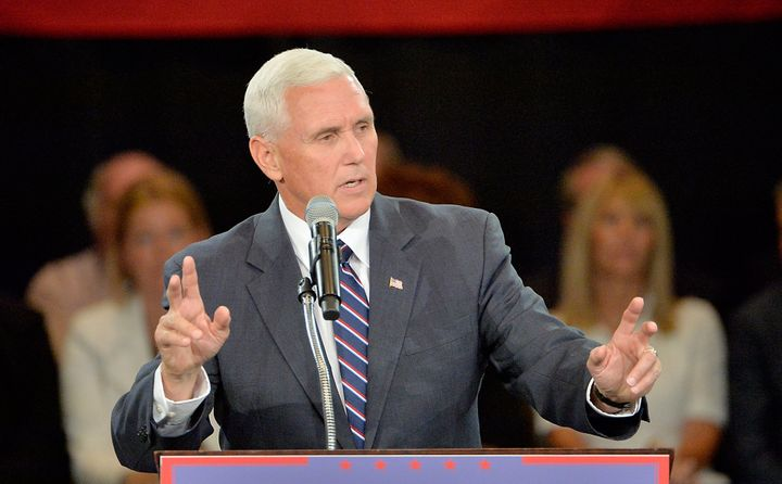 Republican vice presidential nominee and Indiana Gov. Mike Pence has to defend Donald Trump pretty often.