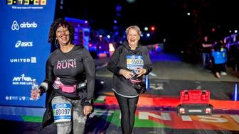 Staying the course: Shari Diaz (left) and Wicki Ball were among the last—and grittiest—to cross the finish line at the New York City Marathon in 2015.