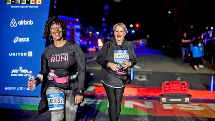 Staying the course: Shari Diaz (left) and Wicki Ball were among the last—and grittiest—to cross the finish line a