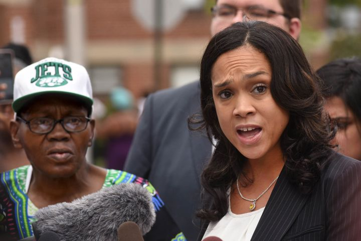 Baltimore State's Attorney Marilyn Mosby holds a news conference on Wednesday, July 27, 2016, at the corner where F