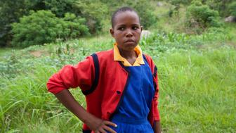Fazani, 14, adopts her no nonsense pose after one of Ujamaa's self-defense lessons.