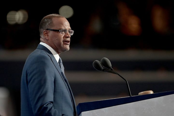 he Eagle Academy principal David Banks delivers remarks on the second day of the Democratic National Convention.